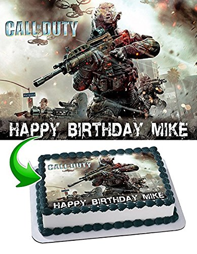 Call of Duty Edible Cake Topper Personalized Birthday 1/2 Size Sheet Decoration Party Birthday Sugar Frosting Transfer Fondant Image ()