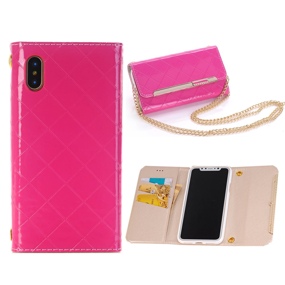 Sammid S8 Plus Case Cover, Galaxy S8 Plus Cover,6.2 inch PU Leather Phone Case, Protective Case with Shoulder Strap for Galaxy S8 Plus - Hot Pink