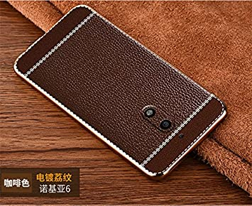 Excelsior Silicon and Leather Back Cover case for Nokia 5  5.2 inch    Coffee Cases   Covers