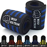 Wrist Wraps by WOD Nation - Wrist Support Braces - Fits Both Men & Women - Strength Training, Weightlifting, & Powerlifting + FREE Carrying Bag Included (12 Inch - Black/Dk Blue)