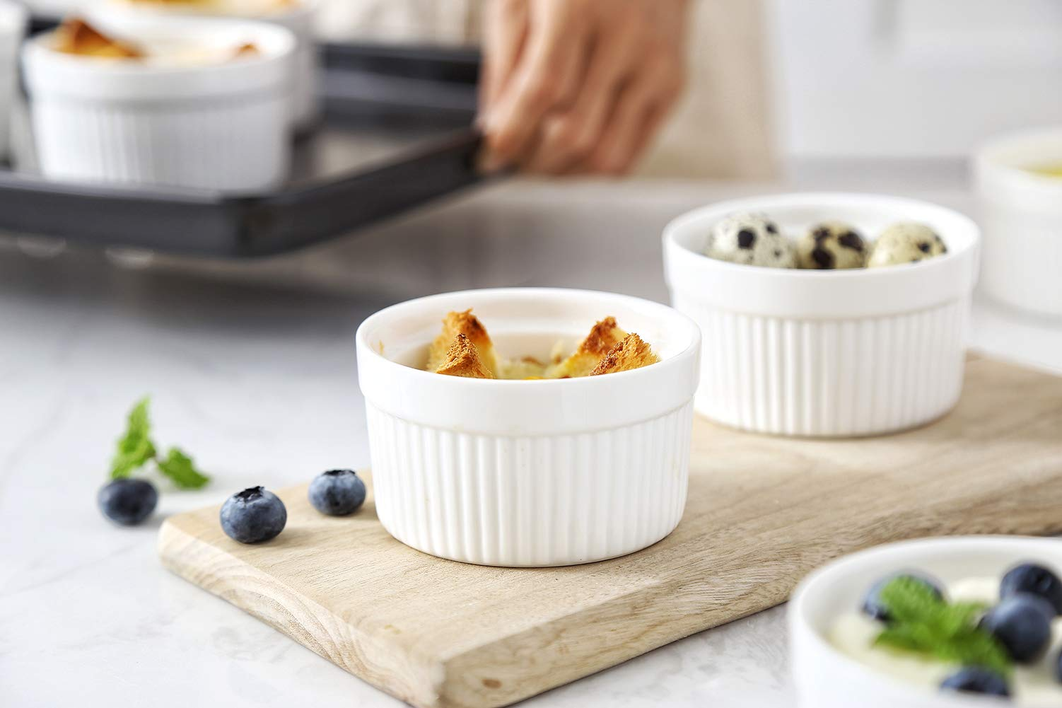 6 oz Ramekin Set of 8 Serving Bowl for Souffle Creme Brulee and Dipping Sauces Porcelain White by LAUCHUH (Image #3)