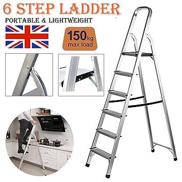Escalera plegable de aluminio, portátil, ligera, decoración, 6 peldaños para Loft, carga de seguridad de 150 kg: Amazon.es: Bricolaje y herramientas