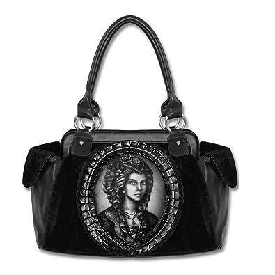 7dc2140d1f3d8 Restyle Damen Gothic Handtasche Lace Frame Cameo Skeleton Lady Hologramm -  Gemme Skelett Dame Gothic Henkeltasche