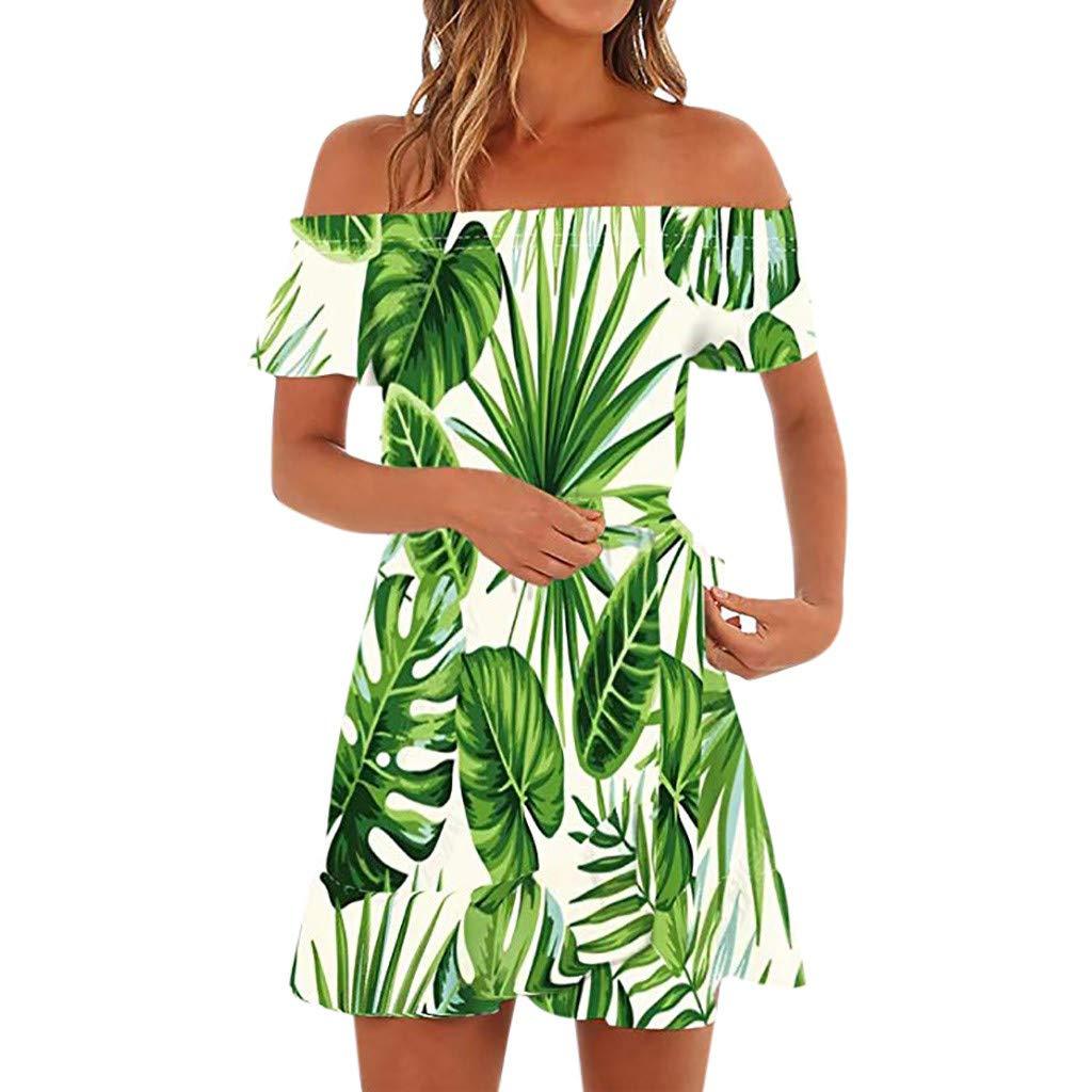 Makeupstory Summer Dresses for Teens Casual Knee Length, Little Black Dress for Women,Women Off Shoulder Short Sleeve Print Dress Ladies Casual Loose Party Dresses