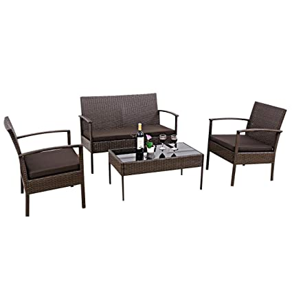 Excellent Amazon Com Cypress Shop Wicker Rattan Patio Furniture Set Creativecarmelina Interior Chair Design Creativecarmelinacom