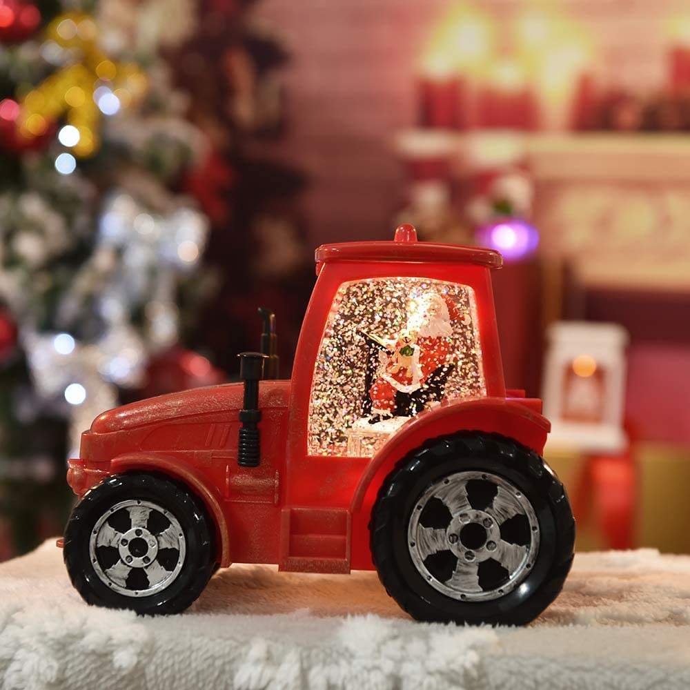 Outable Christmas Singing Snow Globe Lantern - Lighted Lantern with Santa Claus Driving Red Tractor, Water Snow Globe with Swirling Glitter and Battery & USB Powered, Great Home Decoration and Gift