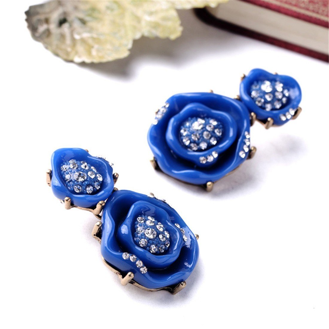 ladies ear studs lovely flowers colorful ball earrings|clip on earrings|ear cuffs|dangle earrings|earring jackets|hoop earrings|stud earrings|European and American fashion