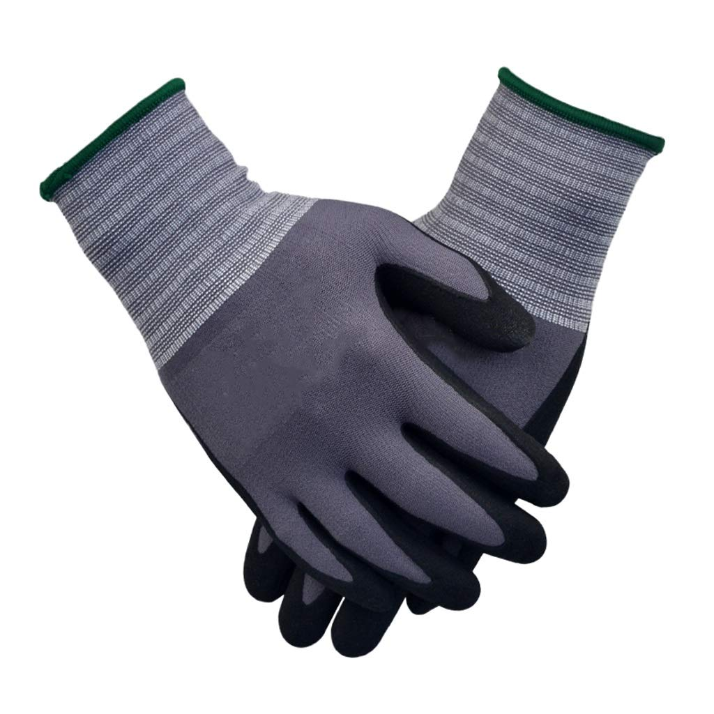 LZRZBH Seamless Knit Nylon Glove with,Foam Nitrile Palm Coated Gloves Gray - 3 Pair Per Pack