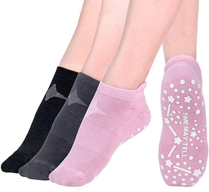 Time May Tell Non Slip Cushion Yoga Socks for Women Barre Pilates with Grips Moisture Wicking Hospital Socks 3 Pair