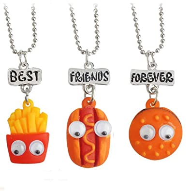 Buy Hexawata Rhinestone Best Friends Fast Food Pendant Necklace For Birthday Gift Set Of 3 Online At Low Prices In India