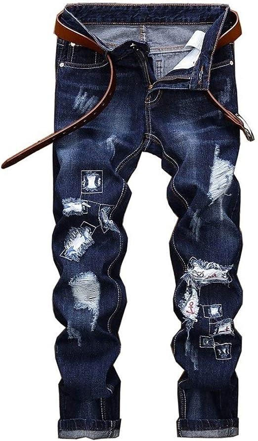 メンズジップワイドパンツ ジーンズ男性ストレートズボンの新しいアップリケ穴 エフェクトライトウォッシュ (Color : Blue, Size : 33)