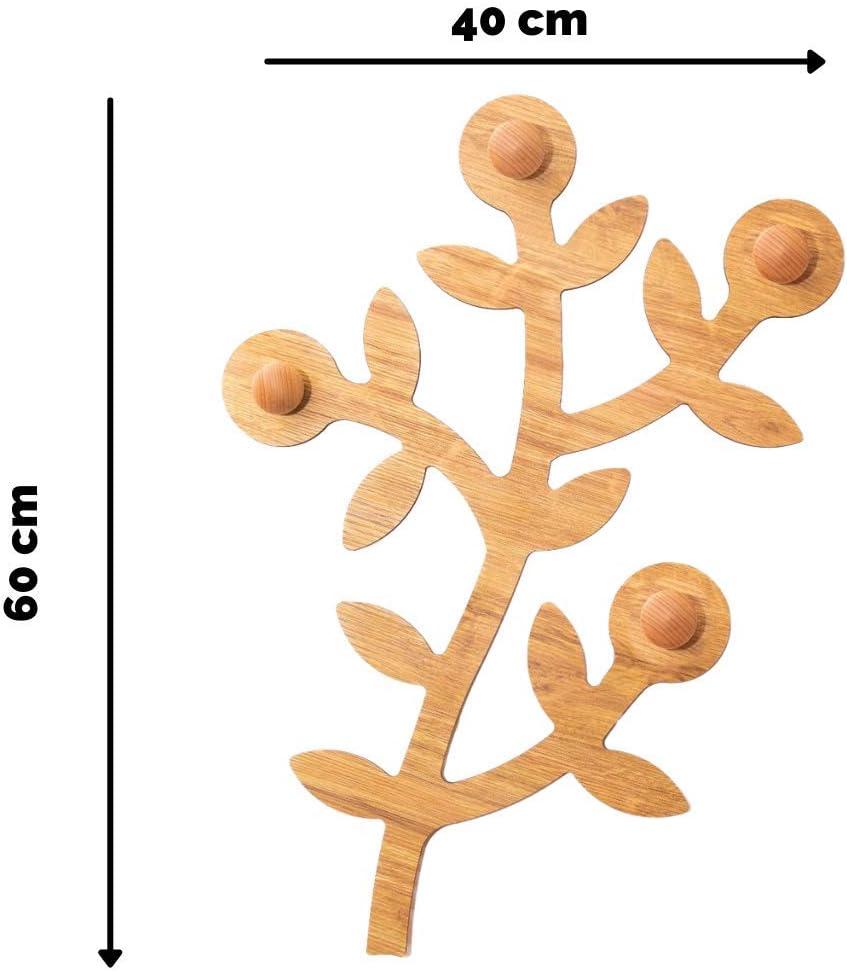 Appendiabiti in Legno Naturale da Muro Decorazioni Casa Facili da Montare PEKIEDO Appendialbero Attaccapanni Ingresso da Muro Made in Italy Albero Cappottiera da Parete