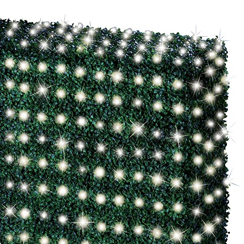 Collections Etc Solar Flashing Net String Lights, White