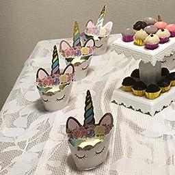 Amazon ユニコーンケーキトッパー ケーキ飾り 手作りレインボーユニコーン デコレーション ケーキ周り 誕生日パーティー 結婚式 可愛い 24枚入り デコレーションツール オンライン通販