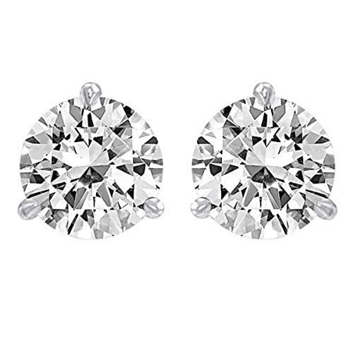 3/4 Carat Solitaire Diamond Stud Earrings Round Brilliant Shape 3 Prong Screw Back (I-J Color, VS1-VS2 Clarity)