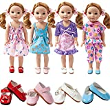 TOYYSB 4PCS doll Clothes and 4pcs shoes fits 14 inch 14.5inch doll American Girl Wellie Wishers Willa Dolls