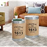 Set Of Two Round Metal End Table With Storage Area Side Table Décor Coffee  Table Cocktail