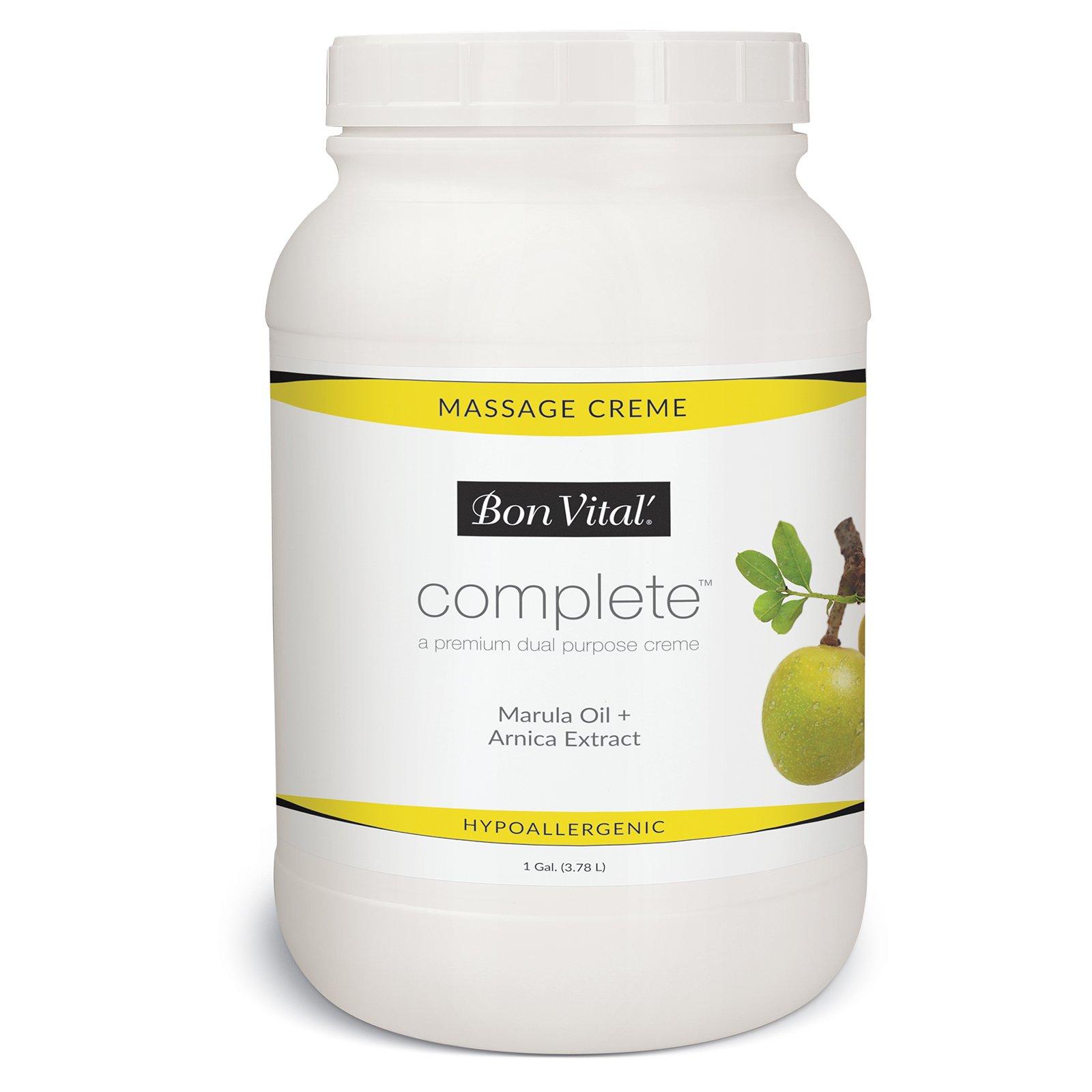 Bon Vital Complete Massage Creme, Premium Dual Purpose Cream for Hypoallergenic Professional Massages, Non Greasy Unscented Moisturizer Made with Marula, Olive, Avocado, Jojoba Oil, 1 Gallon
