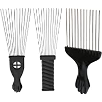 MagiDeal 3 Pieces Professional Salon Barber Afro Steel Teeth Comb for Hair Styling Design Hair Dyeing Brush Black Fist…