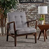 Christopher Knight Home 300070 Brayden Becker Fabric Arm Chair (Set of 2), Grey