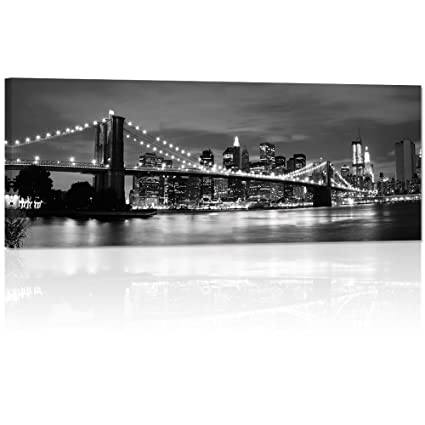 Large 20quotx48quot Modern Canvas Wall ArtNew York Cityscape Brilliant Brooklyn Bridge