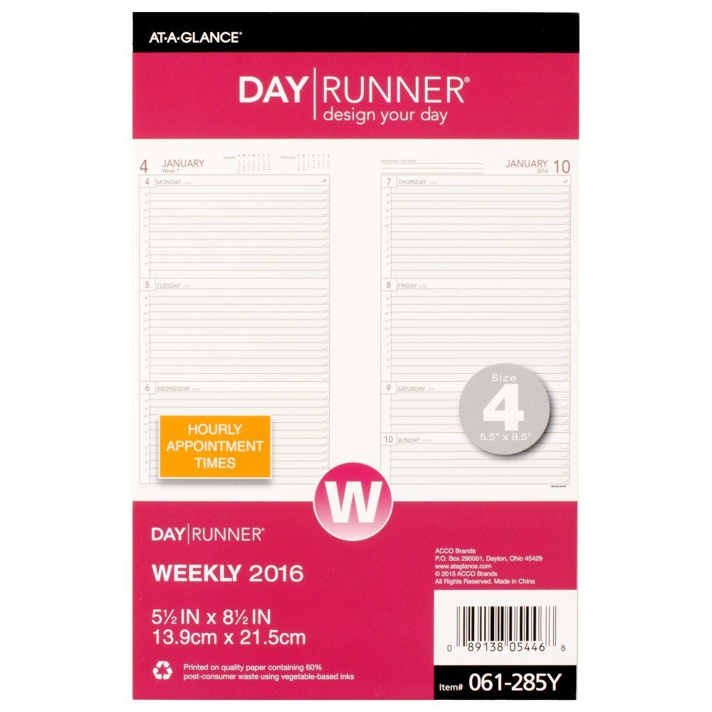 Day Runner Weekly Compact Desk Calendar Planner Refill 2016, 5.5 x 8.5 Inches Page Size 4 (061-285Y-17) by Day Runner