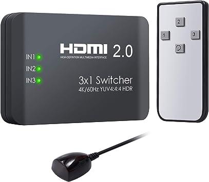 Neoteck HDMI Switch 3 Puertos HDMI 2.0 Switcher 2 vias 1 en 2 ...