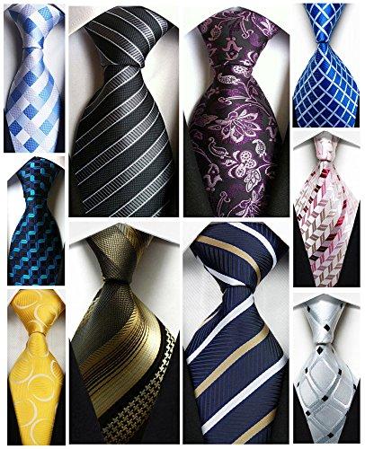 100% Silk Tie - Wehug Lot 10 PCS Men's Ties 100% Silk Tie Woven Slim Necktie Jacquard Neck Ties Classic Ties style002