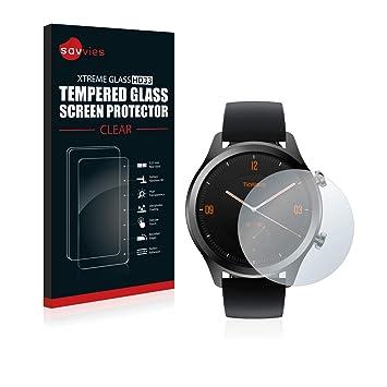 savvies Cristal Templado Compatible con Mobvoi Ticwatch C2 / E2 Protector Pantalla Vidrio Proteccion 9H Pelicula Anti-Huellas