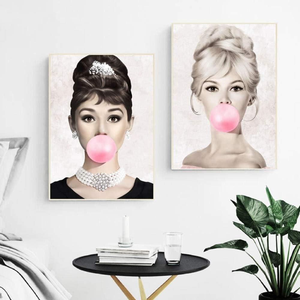 Unbekannt MFMing Audrey Hepburn Kaugummi Wandkunst Leinwand Poster Brigitte Bardot /& Marilyn Monroe Drucke Bilder Wohnkultur-50x70cmx3p ohne Rahmen