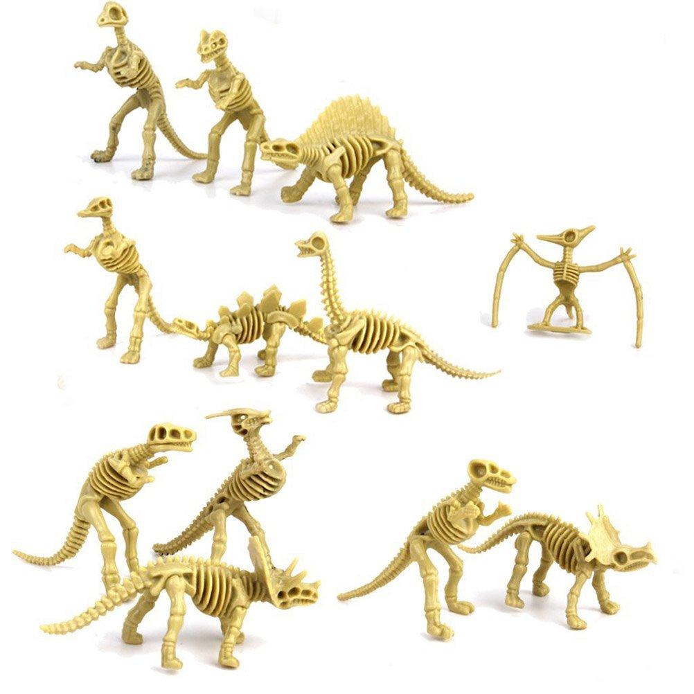 Pixnor Assorted Dinosaur Fossil Skeleton Figures Kids Toy 12pcs