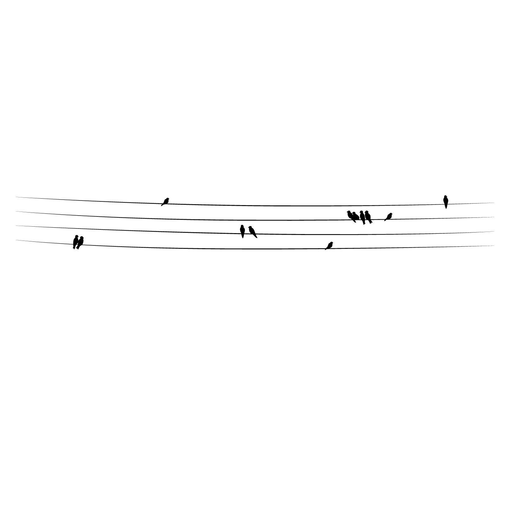 Birds on Powerlines - Black, Large - Vinyl Wall Art Decal for Homes, Offices, Kids Rooms, Nurseries, Schools, High Schools, Colleges, Universities, Interior Designers, Architects, Remodelers