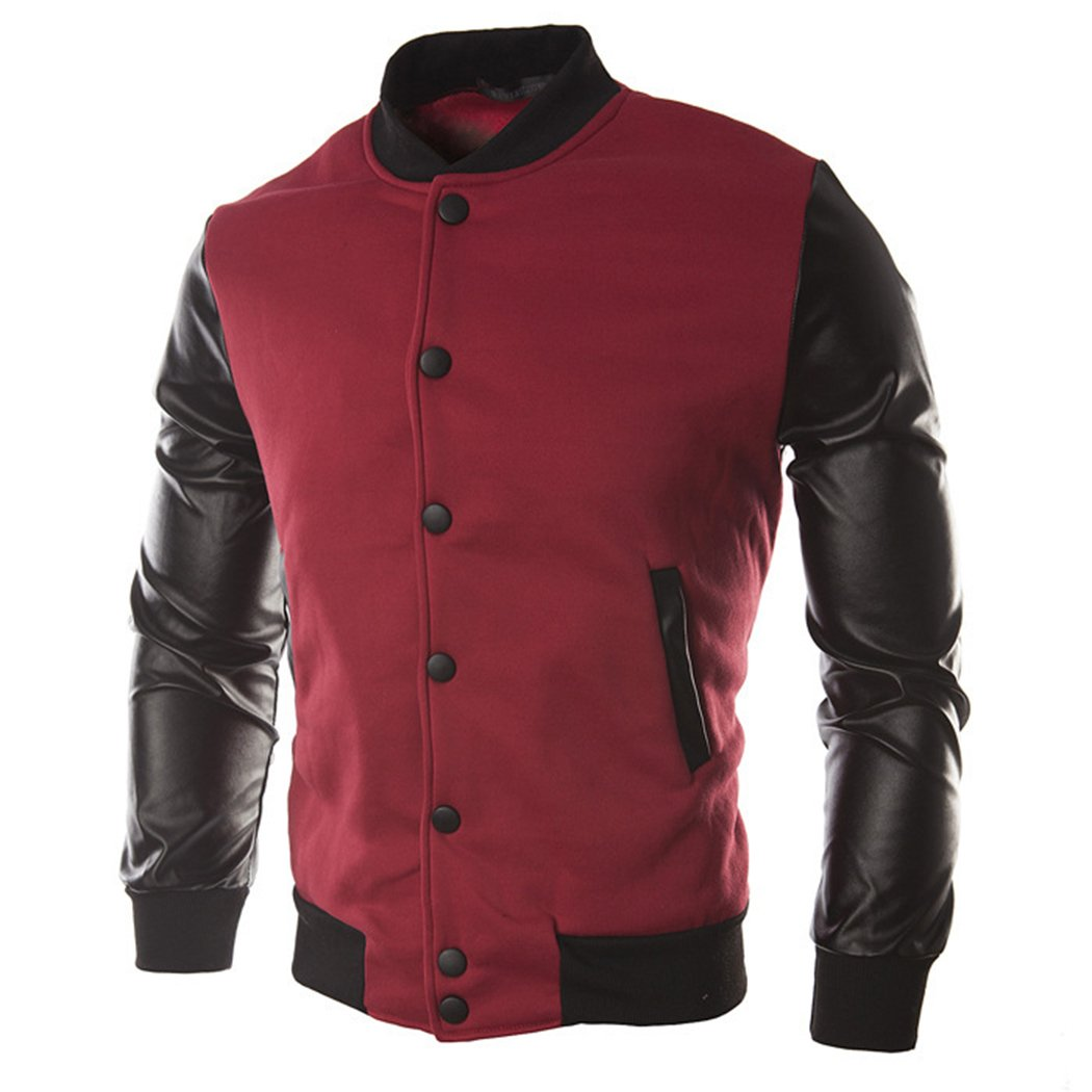 Sun Lorence Men Stand Collar Stitching PU Leather Sleeve Coat Bomber Jackets Red XL