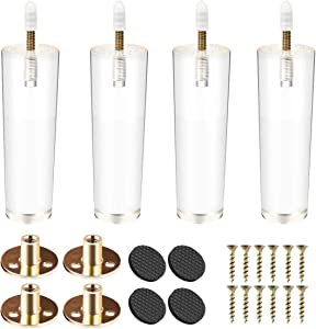 4 inch / 10cm Acrylic Furniture Legs, La Vane 4PCS Tapered Clear Glass DIY M8 Replacement Furniture Feet with Pre-Drilled 5/16 Inch Bolt & Mounting Plate & Screws for Bookcase Table Cabinet