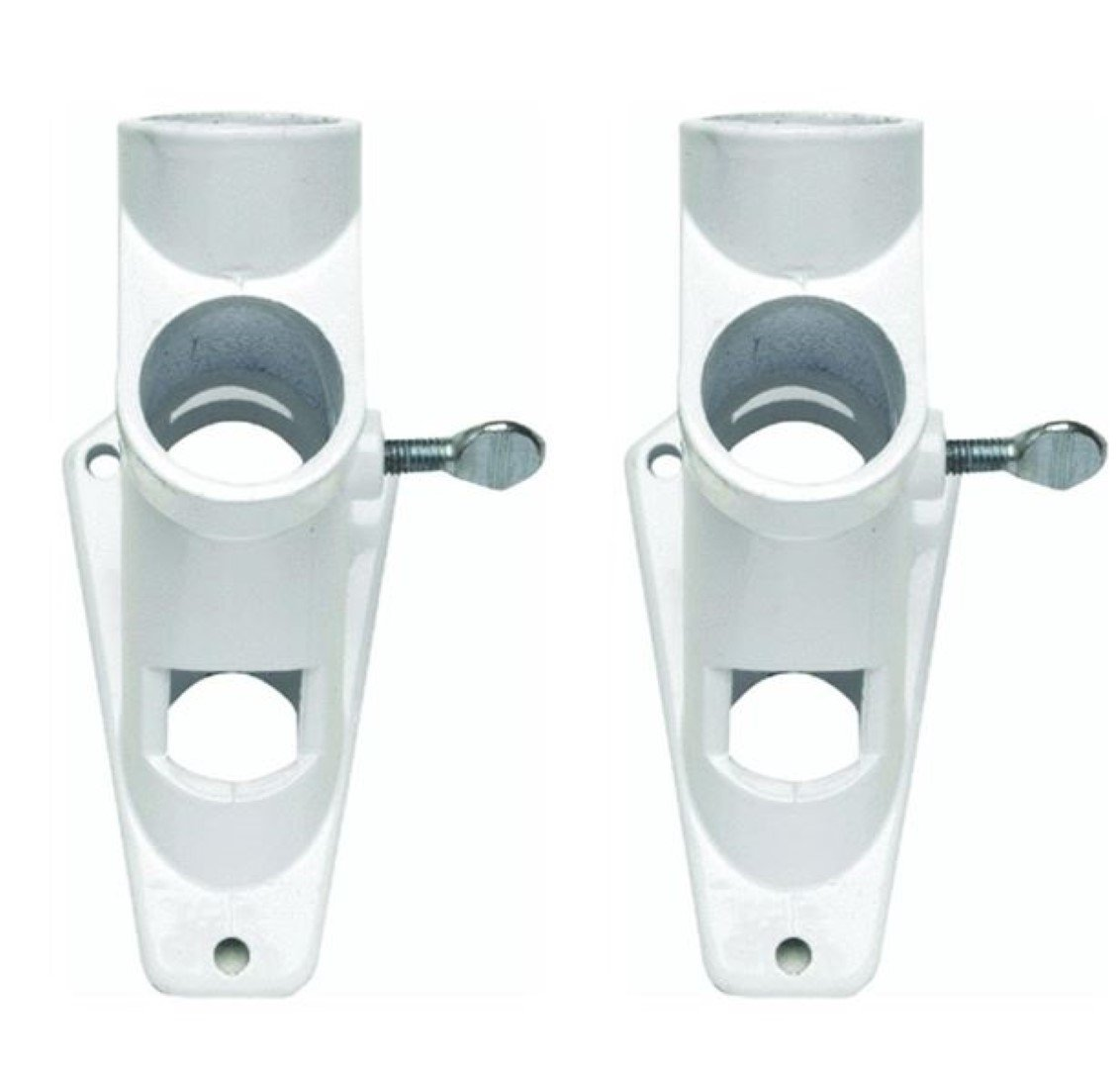 Valley Forge Flag 2 Position 1'' White Powder Coated Aluminum Flag Pole Bracket (2 Pack)