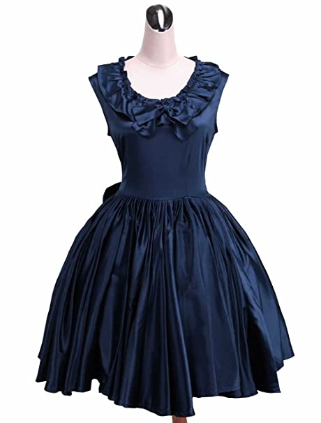 Antaina Vestido de Cosplay de Lolita Victoriana de Encaje de chifón Azul de Encaje Vintage Bowknot
