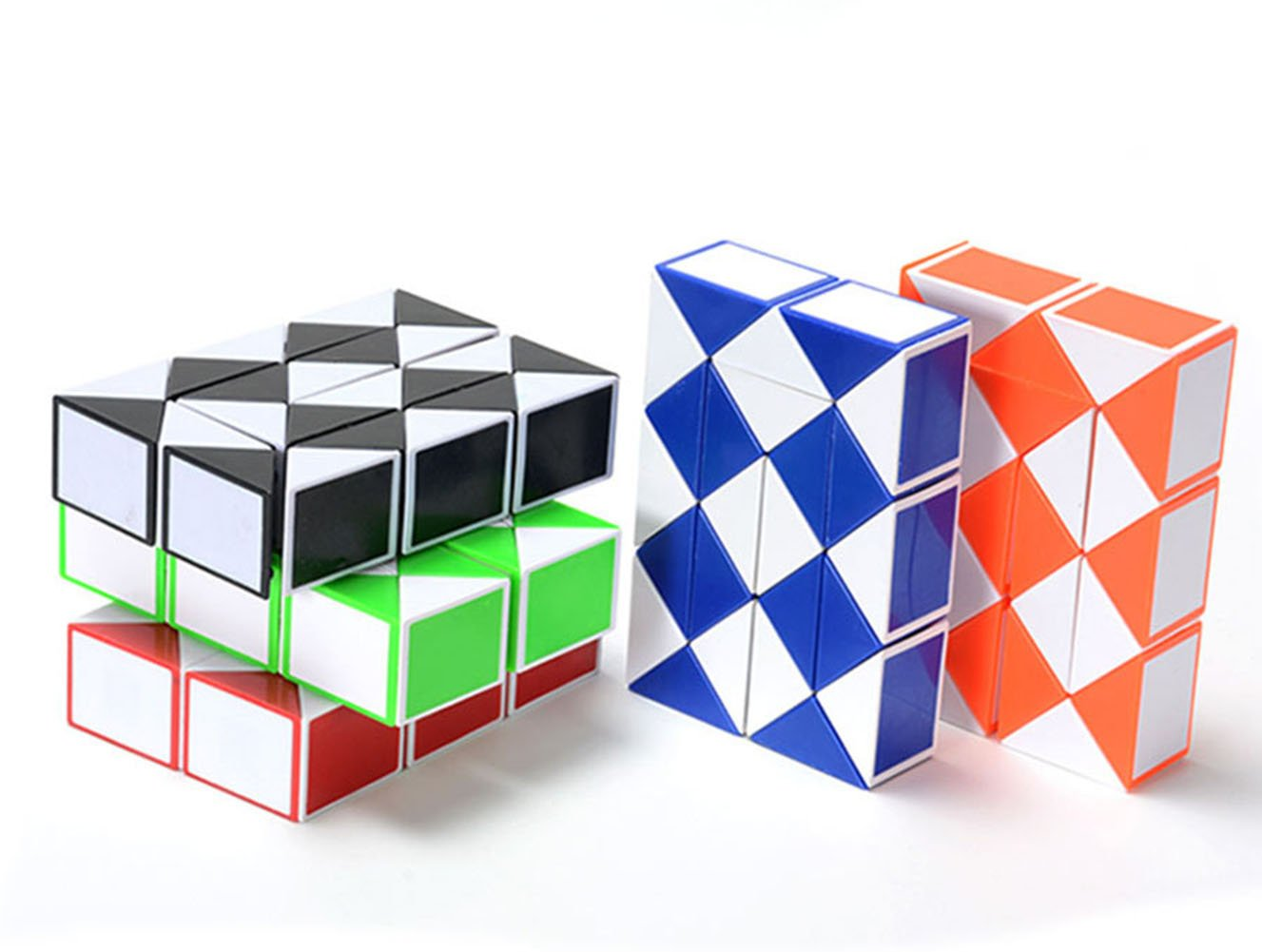 Genius Cells Rubik's Snake Twist 42x2.4x1.6cm Collection of 5 Fun Cube 24 WedgesToys Magic Puzzle Ruler Set.