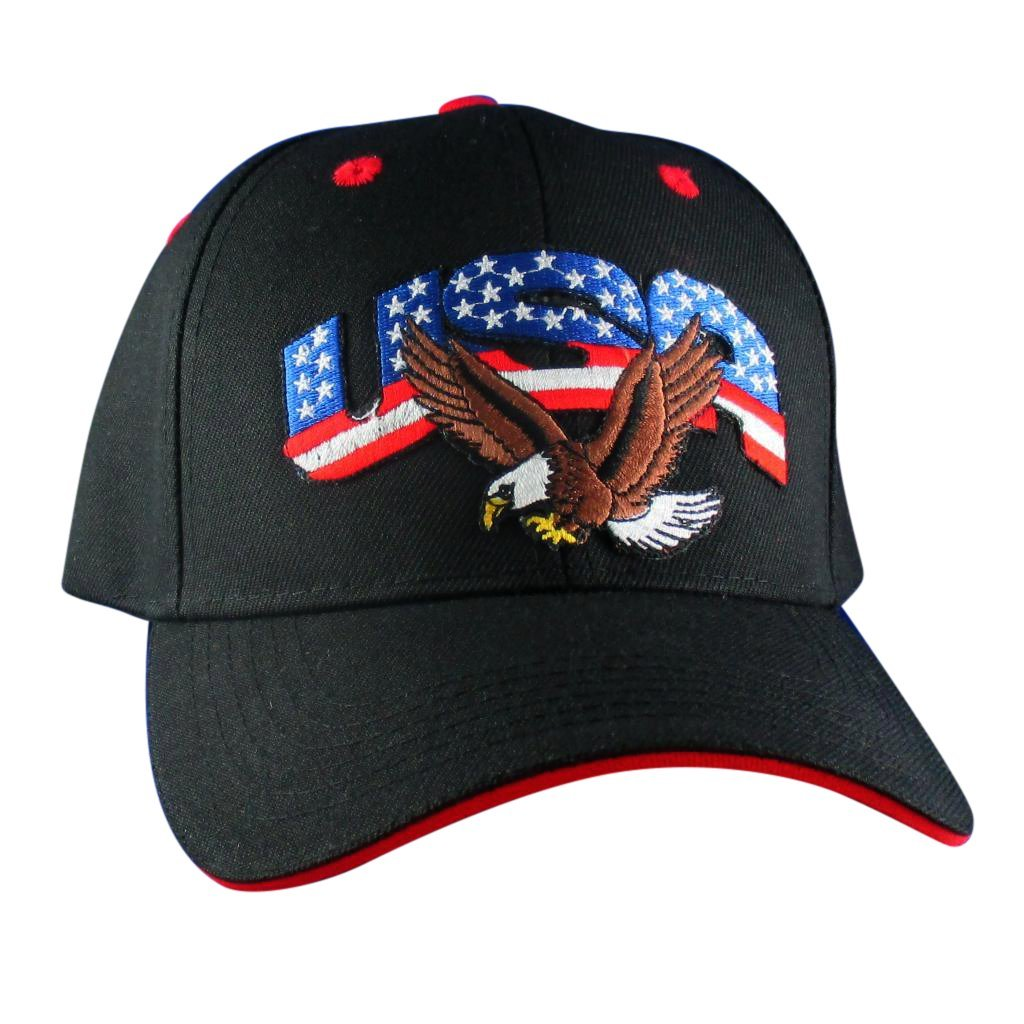 AffinityAddOns USA With Bald Eagle Hat - Embroidered Patch Baseball Cap Black, Red