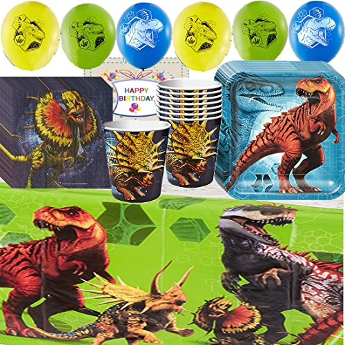 Jurassic World Fallen Kingdom Birthday Party Supplies Pack - Variety Assortment Party Pack Bundle of - Cups, Plates, Napkins, Balloons, Table Cover and Birthday Tattoo