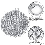 Chainmail Scrubber,Cast Iron Cleaner Stainless Steel Rust Proof More Efficient to Clean Cast Iron Cookware,Pan,Grill,Griddle,Grate,Kitchen Gadget