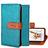 "iPhone 7 Wallet Case,Kudex Durable Slim Premium Kickstand Feature Shock Resistant Protective Leather Vintage Design Folio Flip Purse Case with Card Holder Side Pocket for iPhone 7 4.7"" (Blue)"