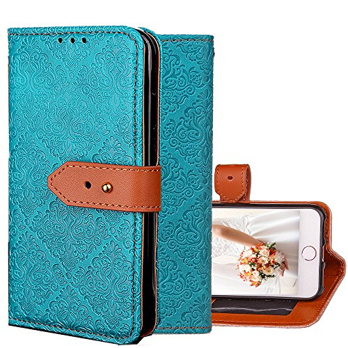 "iPhone 7 Wallet Case,Kudex Durable Slim Premium Kickstand Feature Shock Resistant Protective Leather Vintage Design Folio Flip Purse Case with Card Holder Side Pocket for iPhone 7 4.7"" (Blue)"