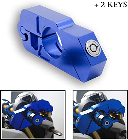 Gold MASO Motorbike Handlebar Lock Aluminum Alloy Anti-Theft Brake Level Lock for Motorbike Motorcycle Bike Scooter Moped ATV