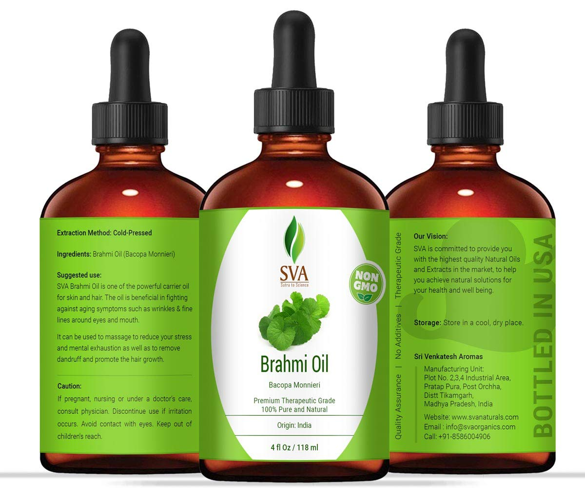 SVA Organics Brahmi Oil 4 Ounce Pure Bacopa Monnieri Cold Pressed Premium Therapeutic Grade Carrier Oil for Long and Strong Hair, Skin Care and Massage