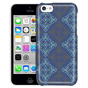 Apple iPhone 5C Case, Slim Fit Snap On Cover by Trek Victorian Vintage Blue and Grey on Cyan Blue Trans Case