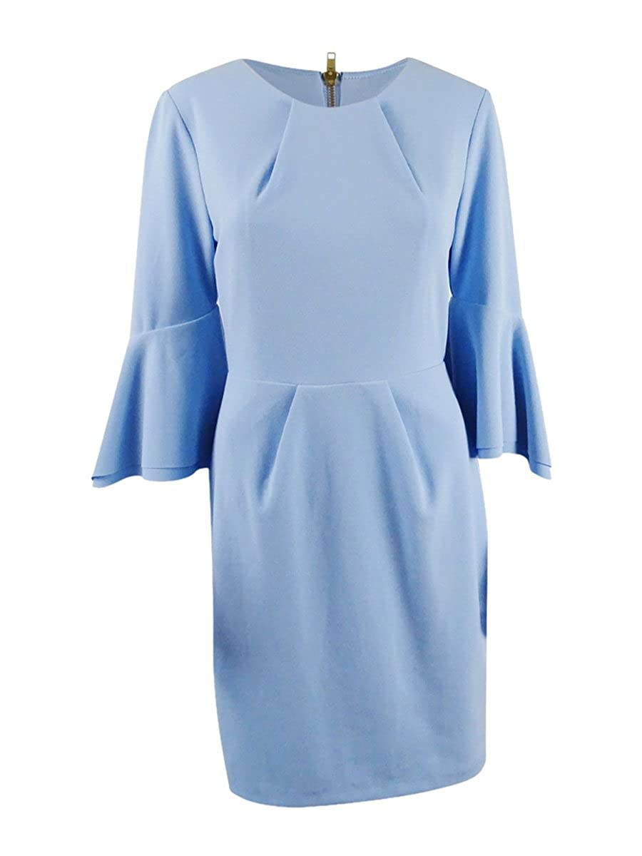 Betsy & Adam Womens Petites Bell Sleeves Pleated Party Dress