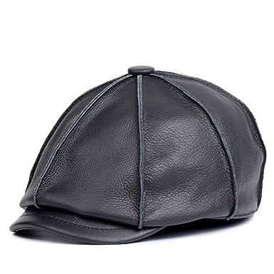 d3a79cc2b808 VEMOLLA Bonnet pour Homme 100% Cuir Véritable Béret Chapeau Octogonal pour  Homme Casquette Newsboy Gavroche