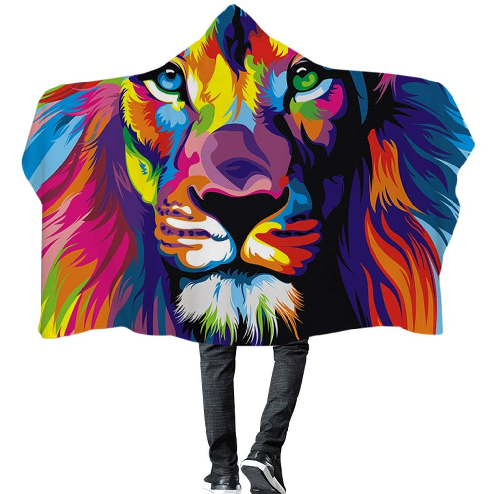 Wearable Hooded Blanket Painting Vivid Lion Vibrant Animal Colorful Lion Blue Red Super Soft Digital Print Hooded Throw Wrap Premium Fleece Warm Hooded Blanket Hooded Cloak for Adults and Children by Frank Home