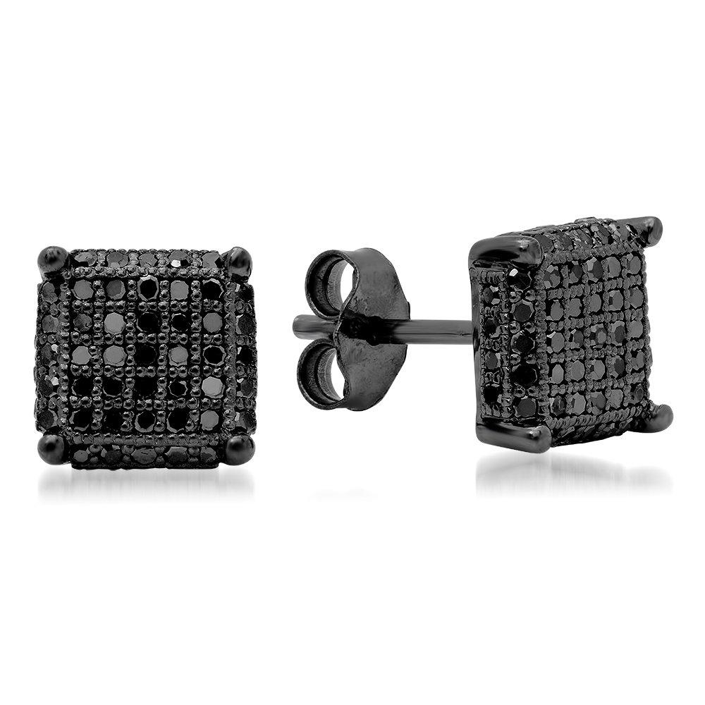 0.50 Carat (ctw) Sterling Silver Black Diamond Dice Shape Ice Cube Mens Hip Hop Stud Earrings 1/2 CT