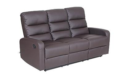 Ordinaire VH FURNITURE Top Grain Leather PU Ergonomic Recliner Sofa (3 Seater), Brown